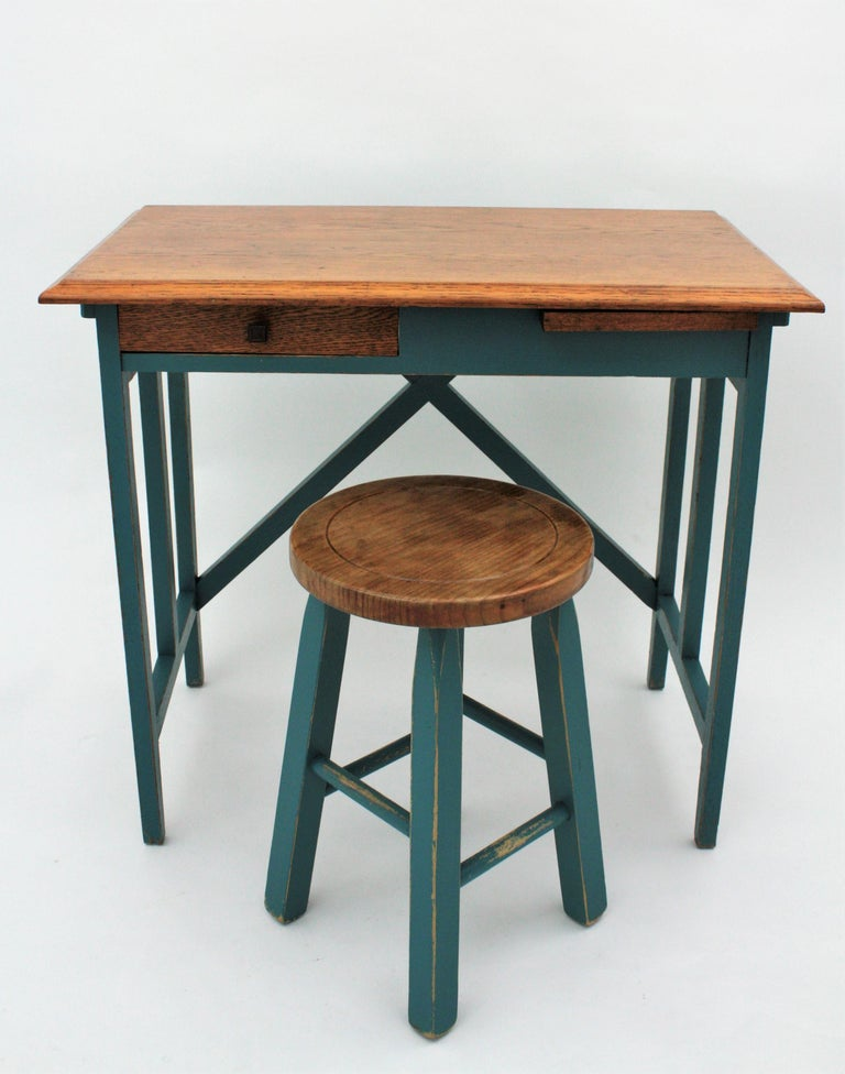 Awe Inspiring Spanish 1930S Industrial Desk And Stool In Oakwood And Jade Green Blue Patina Gmtry Best Dining Table And Chair Ideas Images Gmtryco