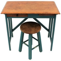 Spanish 1930s Industrial Desk and Stool in Oakwood and Jade Green Blue Patina