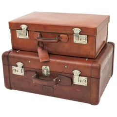 Spanish 1930s Leather Suitcases as Side Table