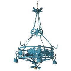 Spanish 1930s Round Painted Iron Ceiling Light with 4 Outer and 1 Centre Light