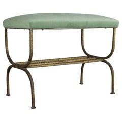 Spanish 1940s Gilt Iron Bench with Sage Green Fabric