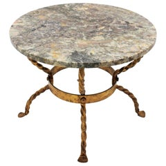 Spanish 1940s Gold Leaf Git Iron & Marble Round Coffee Table or Drinks Table