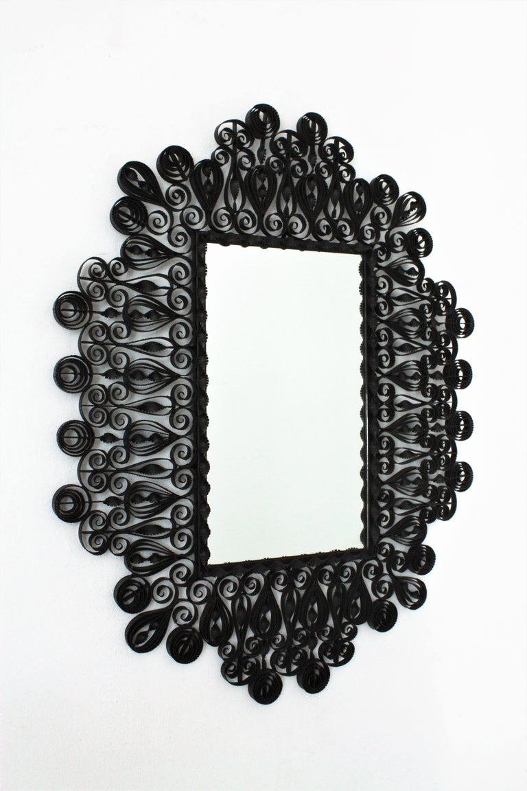 Hammered Spanish 1940s Gothic Revival Ornate Scrolled and Twisted Wrought Iron Mirror For Sale