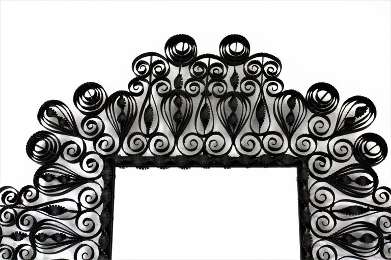 20th Century Spanish 1940s Gothic Revival Ornate Scrolled and Twisted Wrought Iron Mirror For Sale