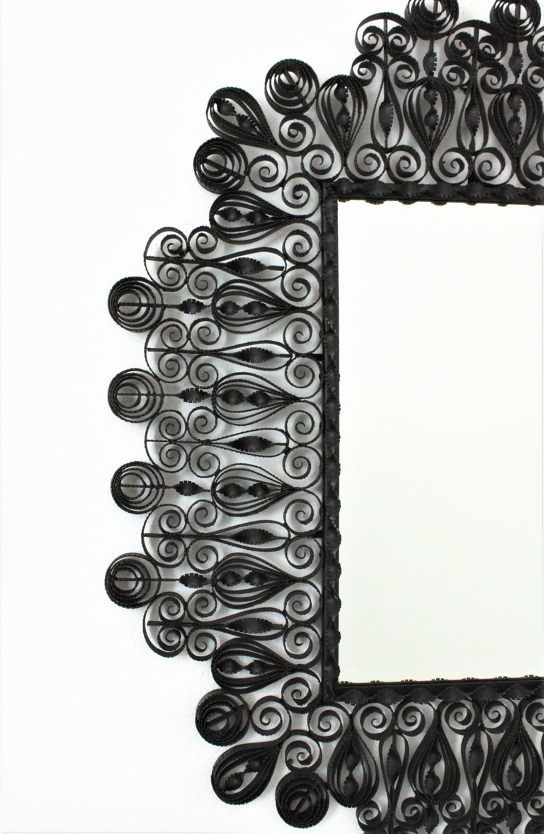 Spanish 1940s Gothic Revival Ornate Scrolled and Twisted Wrought Iron Mirror For Sale 1