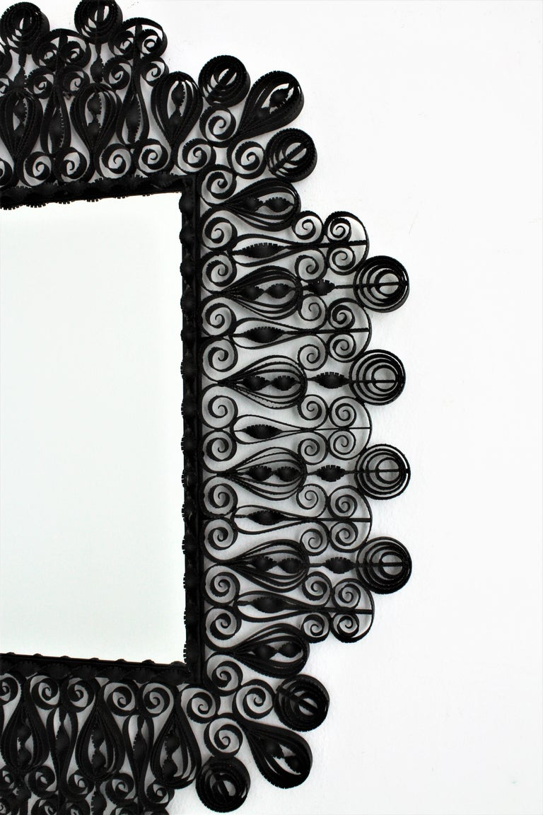 Spanish 1940s Gothic Revival Ornate Scrolled and Twisted Wrought Iron Mirror For Sale 2
