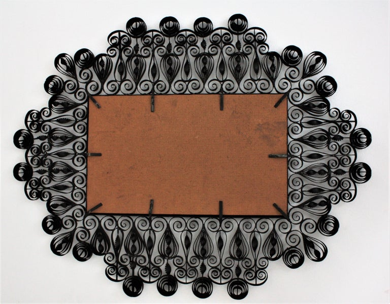 Spanish 1940s Gothic Revival Ornate Scrolled and Twisted Wrought Iron Mirror For Sale 4