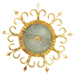 Spanish 1940s Neoclassical Gilt Iron and Glass Flush Mount Ceiling Light Fixture