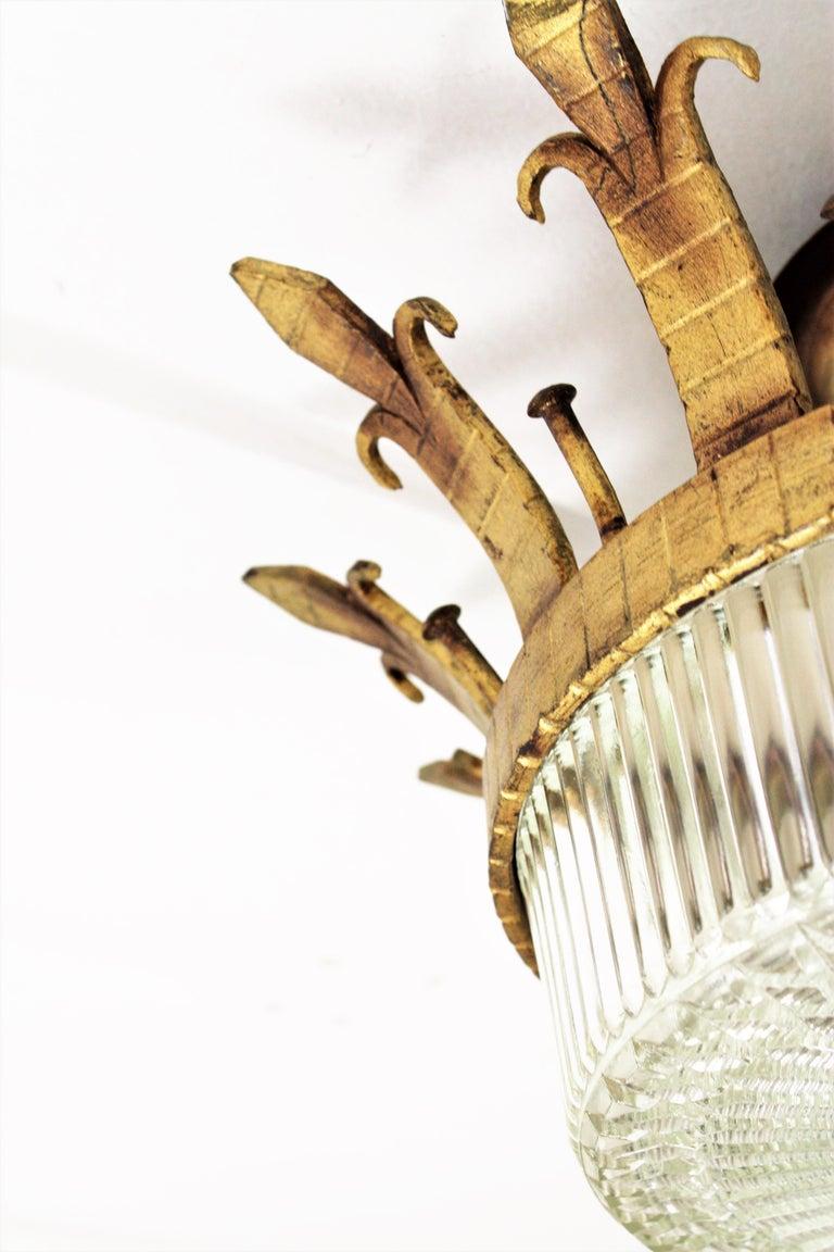 Spanish 1940s Neoclassical Gilt Iron Fluted Glass Flush Mount Ceiling Light For Sale 6
