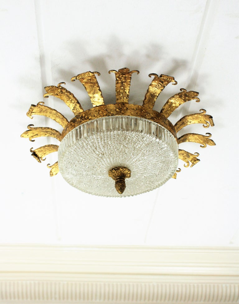 Frosted Spanish 1940s Neoclassical Gilt Iron Fluted Glass Flush Mount Ceiling Light For Sale