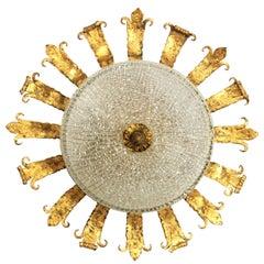 Spanish 1940s Neoclassical Gilt Iron Fluted Glass Flush Mount Ceiling Light