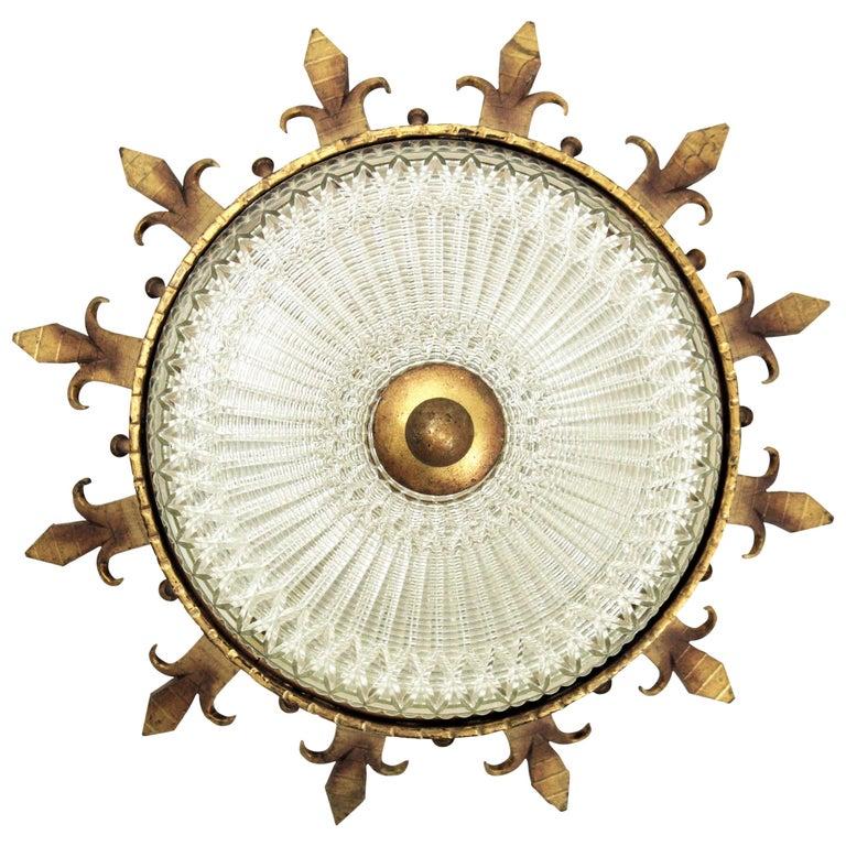 Spanish 1940s Neoclassical Gilt Iron Fluted Glass Flush Mount Ceiling Light For Sale