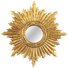 Spanish 1950s Baroque Style Carved Giltwood Mini Sunburst Mirror