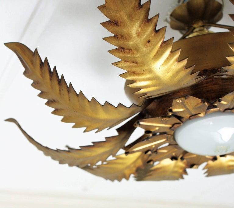 Spanish 1950s Brutalist Gilt Metal Leafed Sunburst Ceiling Light Fixture For Sale 4