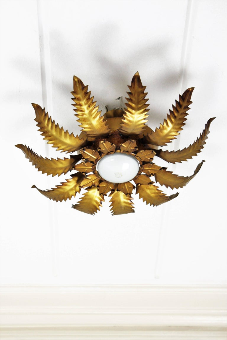 Mid-20th Century Spanish 1950s Brutalist Gilt Metal Leafed Sunburst Ceiling Light Fixture For Sale
