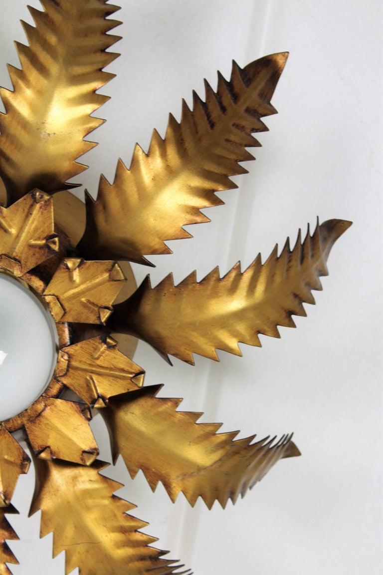 Spanish 1950s Brutalist Gilt Metal Leafed Sunburst Ceiling Light Fixture For Sale 3
