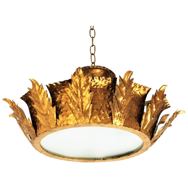 Spanish 1950s Brutalist Hammered Gilt Iron Crown Sunburst Ceiling Light Fixture