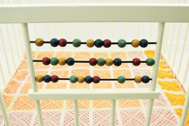 Spanish 1950s Folding Wooden Childs Playpen with Beads Abacus Toy For Sale 5
