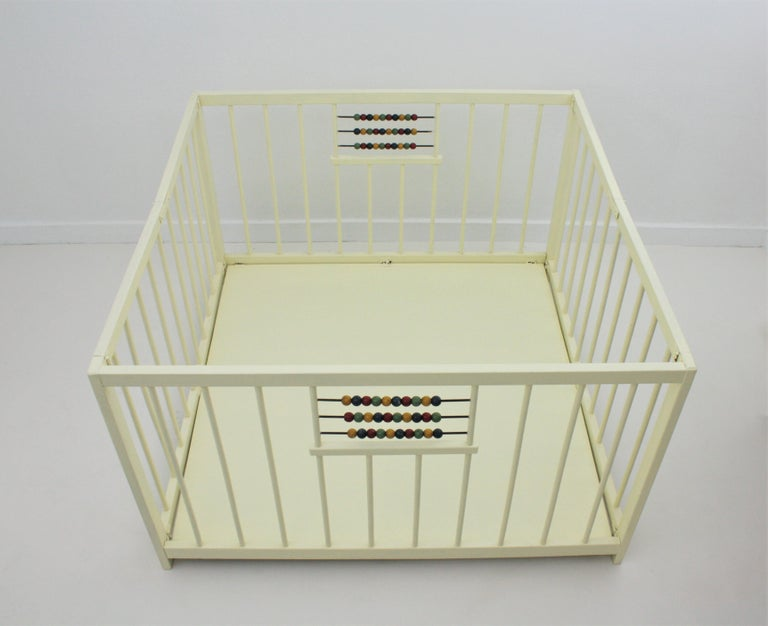 20th Century Spanish 1950s Folding Wooden Childs Playpen with Beads Abacus Toy For Sale