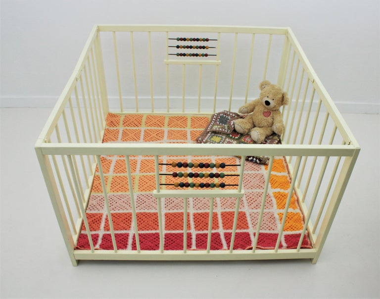 Spanish 1950s Folding Wooden Childs Playpen with Beads Abacus Toy For Sale 1