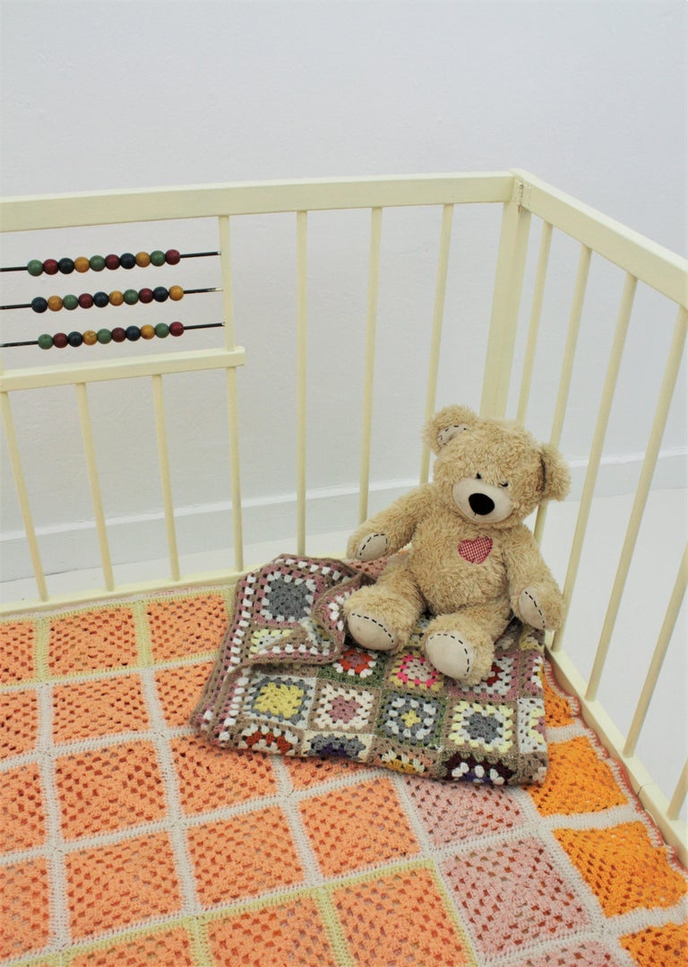 Spanish 1950s Folding Wooden Childs Playpen with Beads Abacus Toy For Sale 2