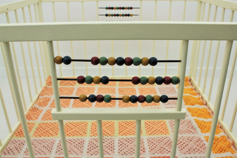 Spanish 1950s Folding Wooden Childs Playpen with Beads Abacus Toy For Sale 3