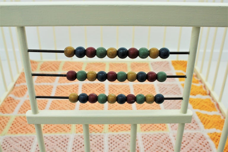 Spanish 1950s Folding Wooden Childs Playpen with Beads Abacus Toy For Sale 4