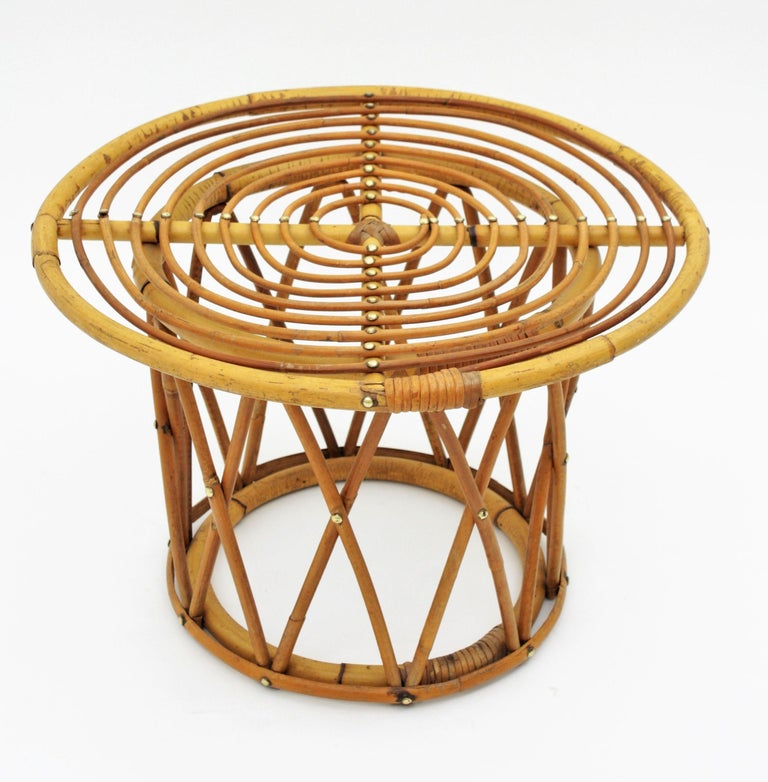 1950s American Mid Century Modern Small Round Top: Spanish 1950s Franco Albini Style Bamboo And Rattan Round