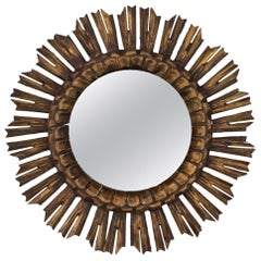 Spanish 1950s Giltwood Sunburst Mirror