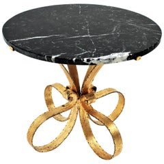 Spanish 50s Gilt Iron & Marble Top Round Coffee / Cocktails Table with Loop Base