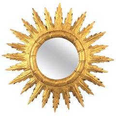 Spanish 1950s Gold Leaf Giltwood Sunburst Mirror in Baroque Style