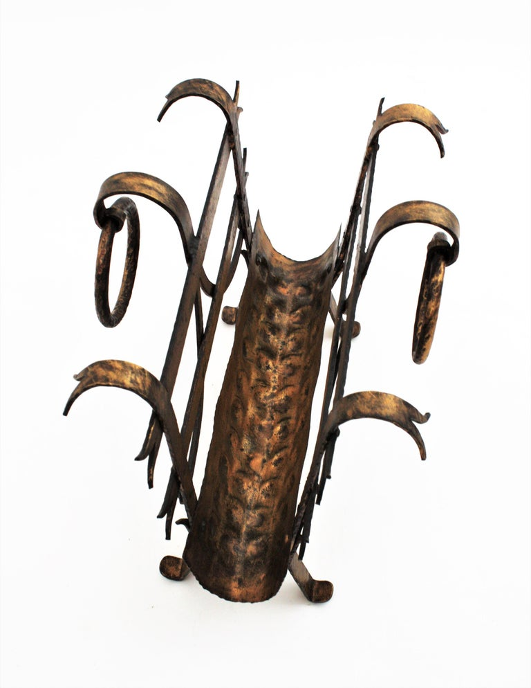 Spanish 1950s Hand-Hammered Gold Gilt Iron Magazine Rack with Ring Handles For Sale 8