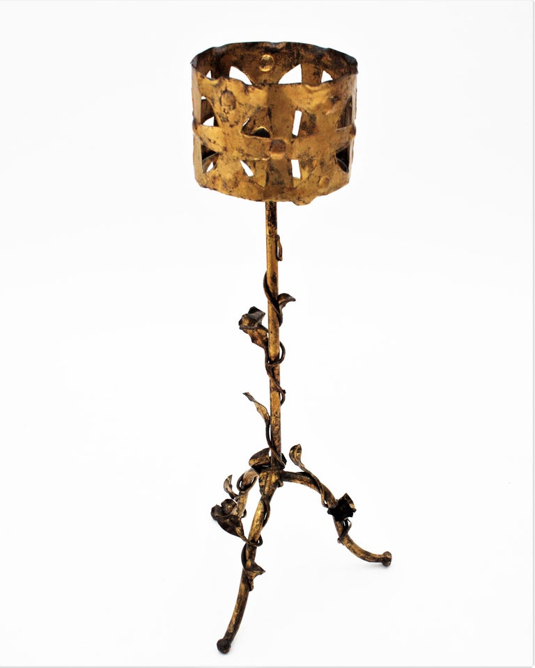 Spanish 1950s Foliate Floral Gilt Iron Bottle Stand or Planter For Sale 6