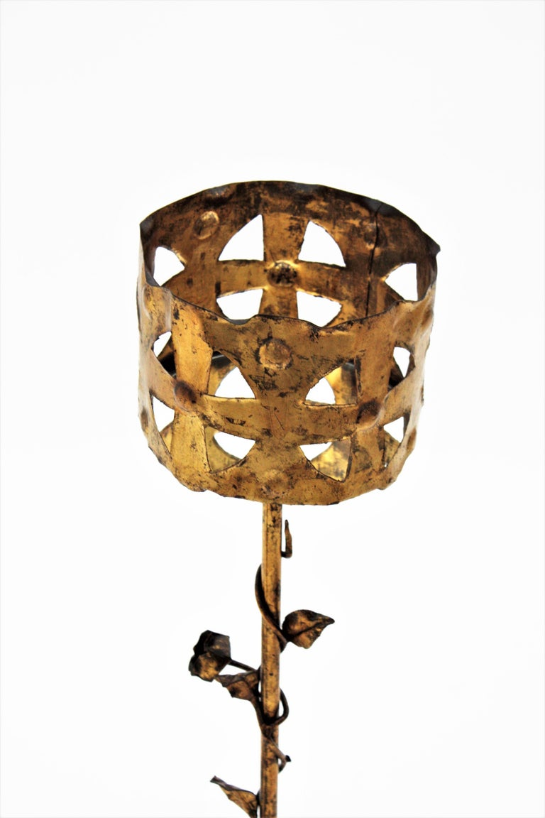 Spanish 1950s Foliate Floral Gilt Iron Bottle Stand or Planter For Sale 2