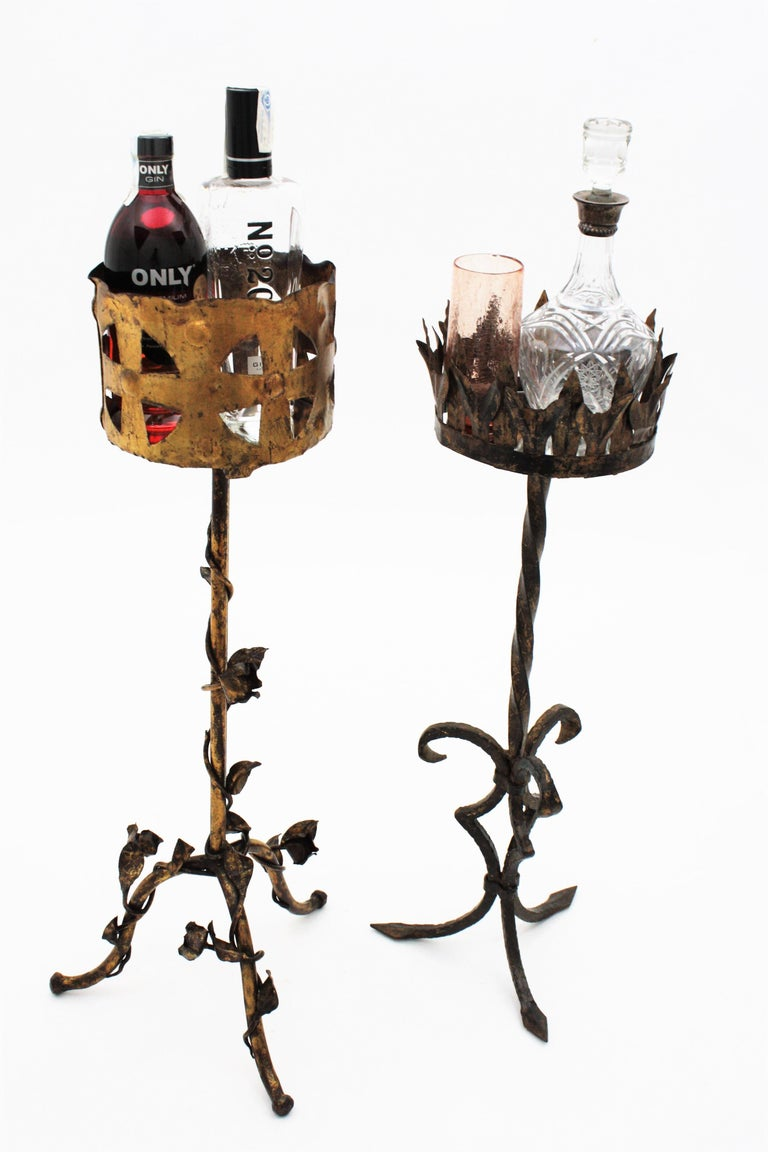 Spanish 1950s Foliate Floral Gilt Iron Bottle Stand or Planter For Sale 3