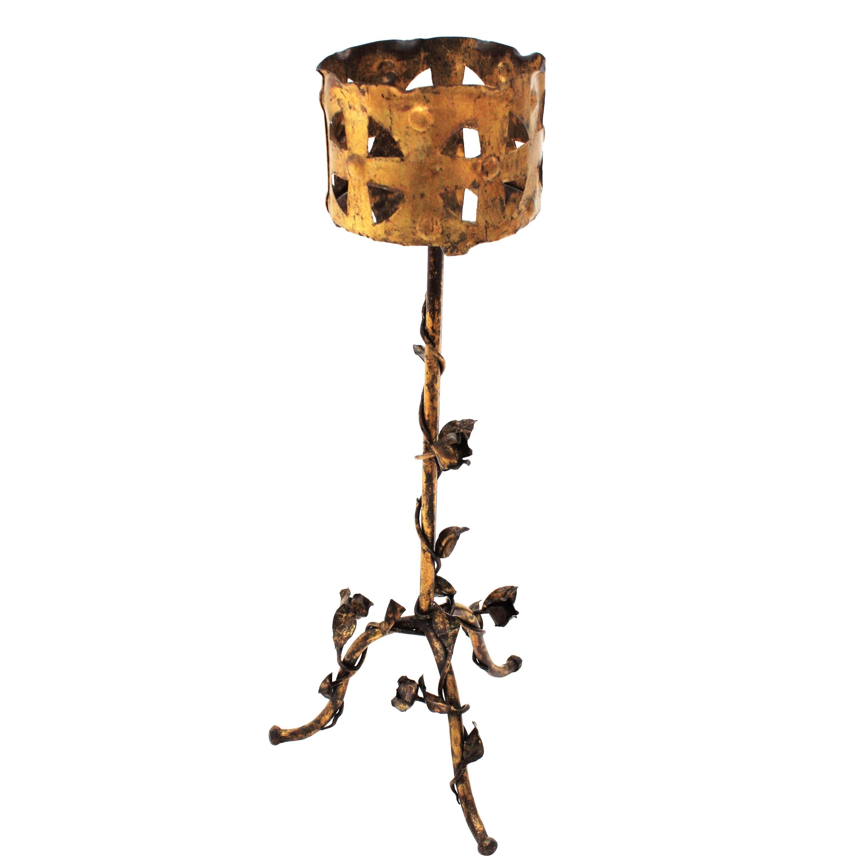 Spanish 1950s Foliate Floral Gilt Iron Bottle Stand or Planter