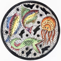 Spanish Midcentury Hand Painted Terracotta Ceramic Plate with Naif Fish Motif