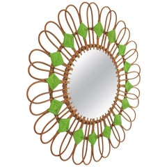 Spanish 1950s Rattan Sunburst Flower Shaped Mirror with Green Rhombus Details