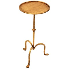 Spanish 1950s Small Hand-Hammered Gilt Iron End Table / Gueridon / Drinks Table