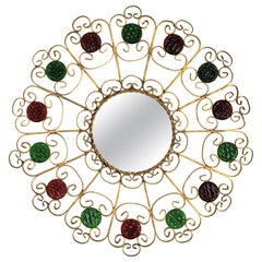 Sunburst Mirror in Gilt Iron Scrollwork with Red and Green Glass Accents