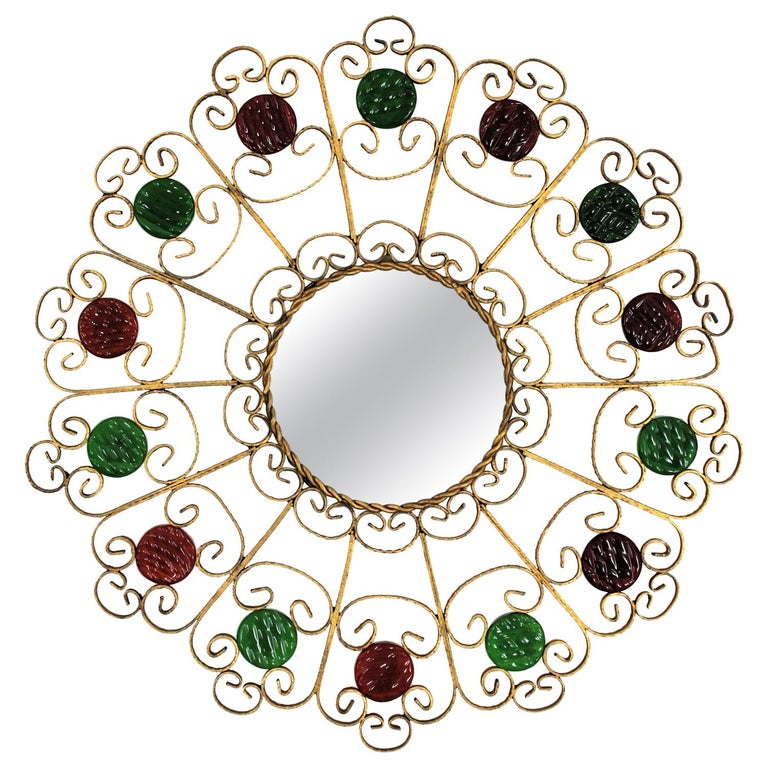 Spanish 1950s Wrought Iron Scroll Motif Mirror Accented by Red and Green Glasses For Sale