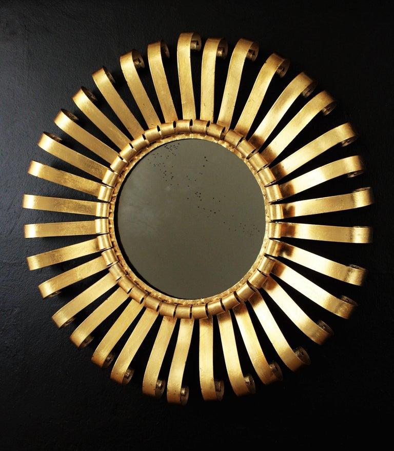 Spanish Mid-Century Modern Gilt Iron Sunburst Scrollwork Wall Mirror, Spain 1960s For Sale