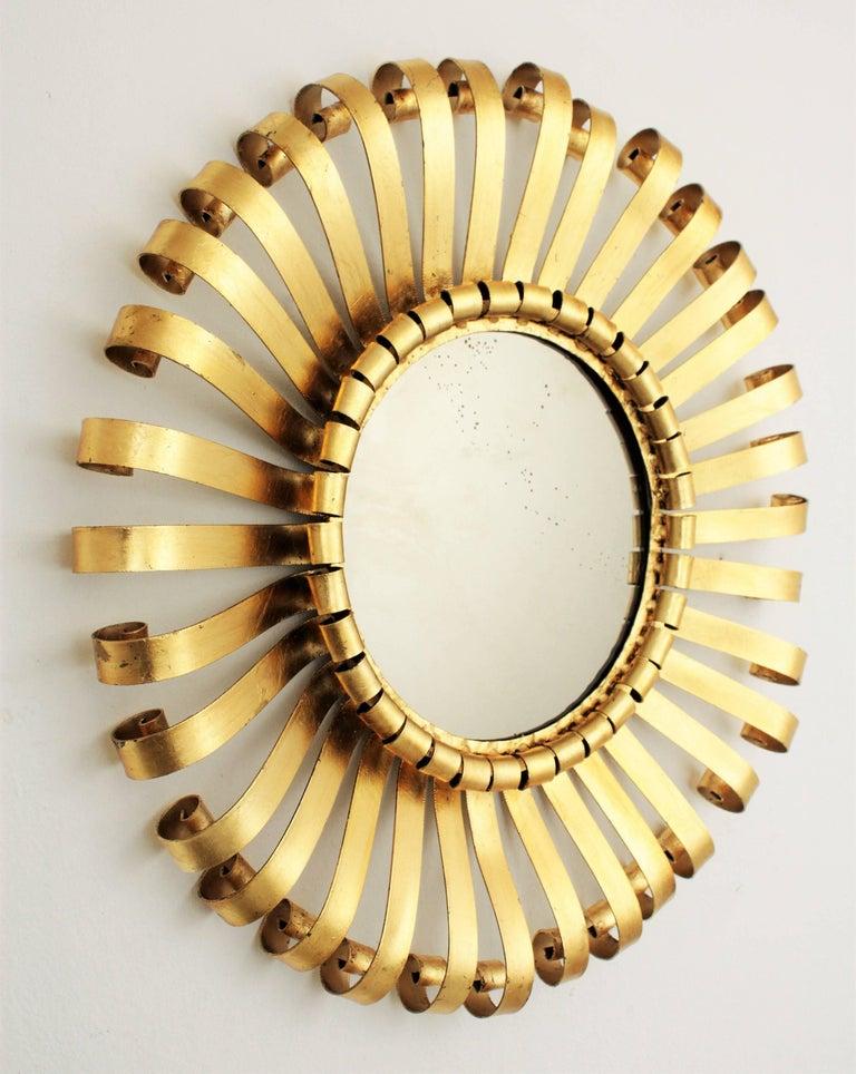 20th Century Mid-Century Modern Gilt Iron Sunburst Scrollwork Wall Mirror, Spain 1960s For Sale
