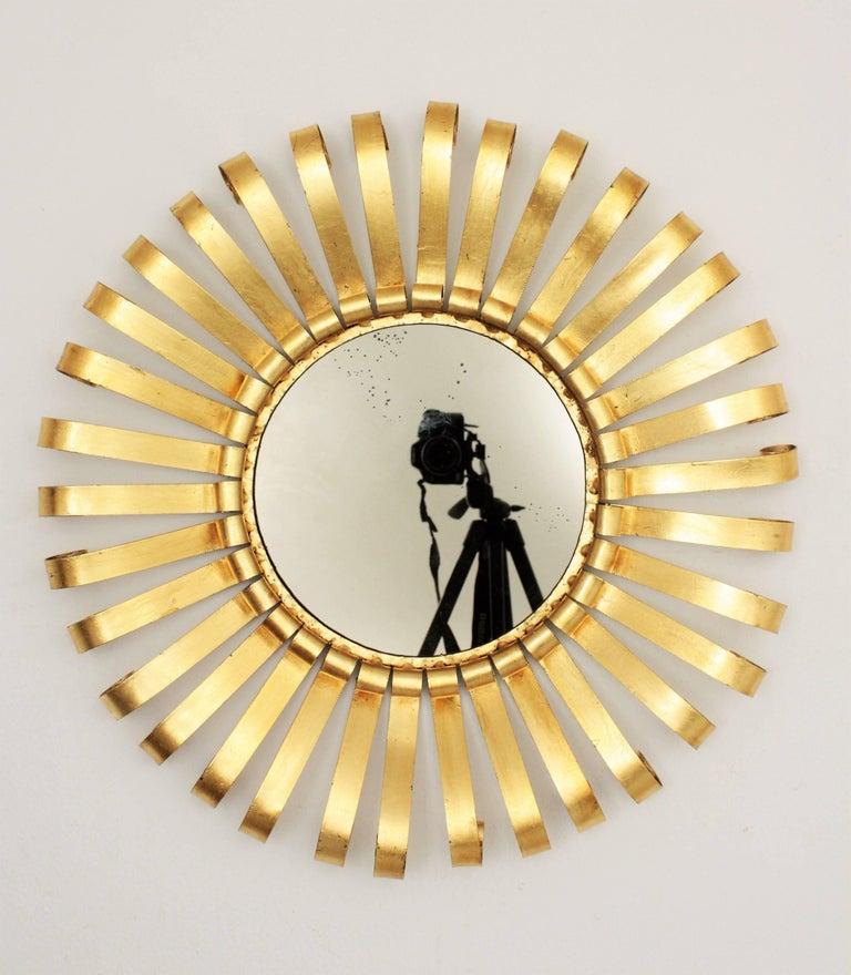 Mid-Century Modern Gilt Iron Sunburst Scrollwork Wall Mirror, Spain 1960s For Sale 1