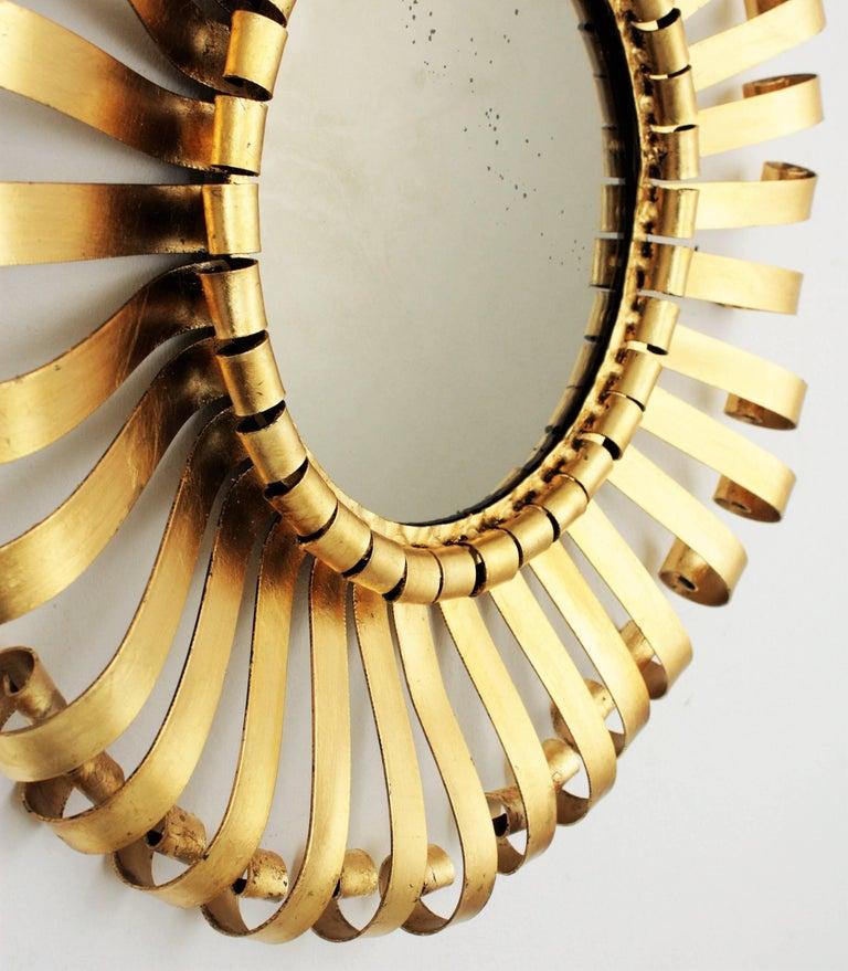 Mid-Century Modern Gilt Iron Sunburst Scrollwork Wall Mirror, Spain 1960s For Sale 3