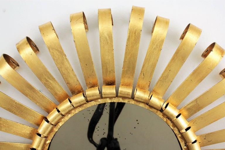 Mid-Century Modern Gilt Iron Sunburst Scrollwork Wall Mirror, Spain 1960s For Sale 5