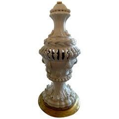 Spanish 1960s Cream Glazed Mansies 'Valencia' Ceramic Table Lamp