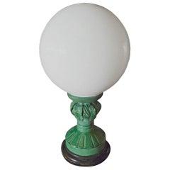 Spanish 1960s Green Glaze Mansies Ceramic Table Lamp with Milk White Shade
