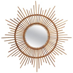 Spanish 1960s Handcrafted Rattan Starburst / Sunburst Wall Mirror