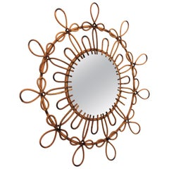 Spanish 1960s Looped Rattan & Wicker Flower Burst Mirror with Pyrography Details
